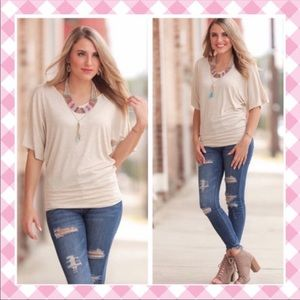 Oatmeal Banded Dolman Top